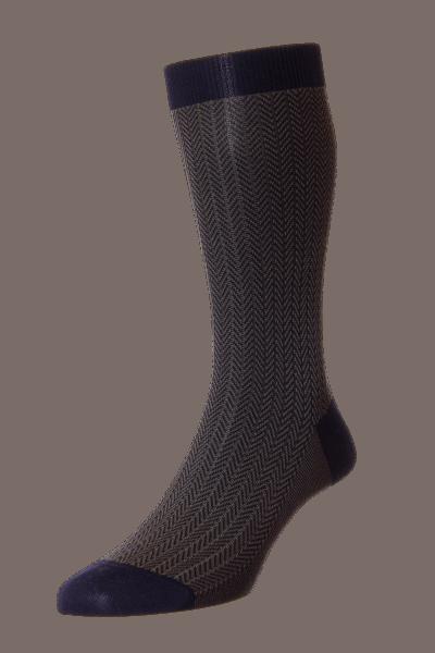 Pantherella Finsbury - Herringbone Merino Wool Socks - navy