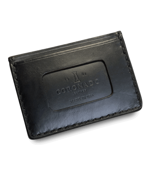 Coronado Leather Horsehide Card Case Wallet Black