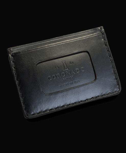 Coronado Leather Horsehide Card Case Wallet Black