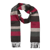 John Hanly Irish Cashmere Wool Scarf Red / Grey Mix Stripes