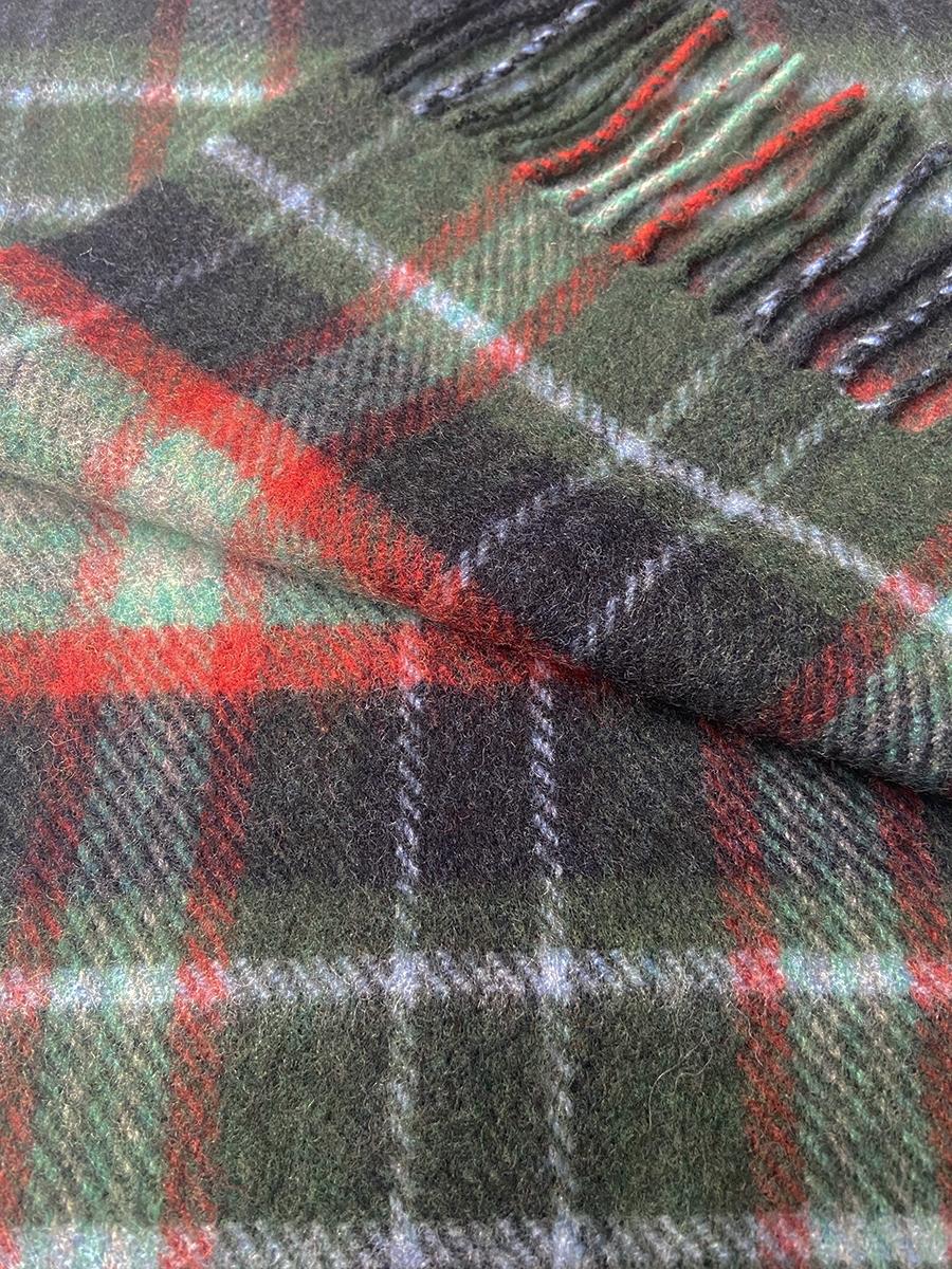 John Hanly Irish Wool Scarf Green Mint Navy Check