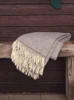 John Hanly Merino Cashmere Decke Herringbone Grey / Cream
