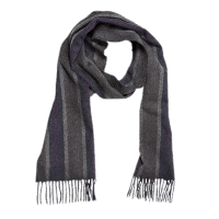 John Hanly Irish Cashmere Wool Scarf Grey Mix Blue