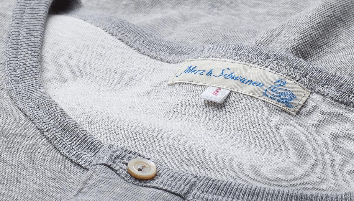 Merz beim Schwanen Knopfleisten T-Shirt 207 - grau mel.