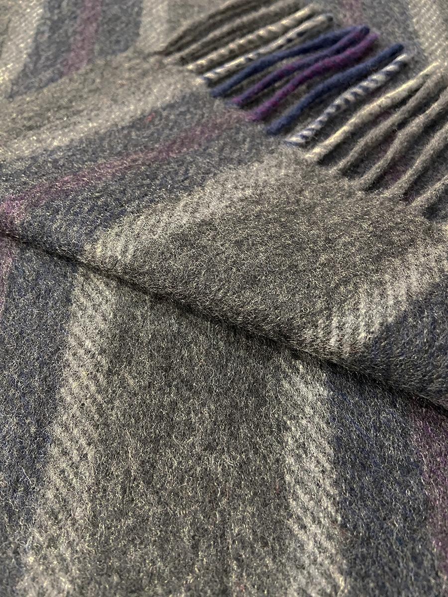 John Hanly Irish Cashmere Wool Schal Grey Mix Blue