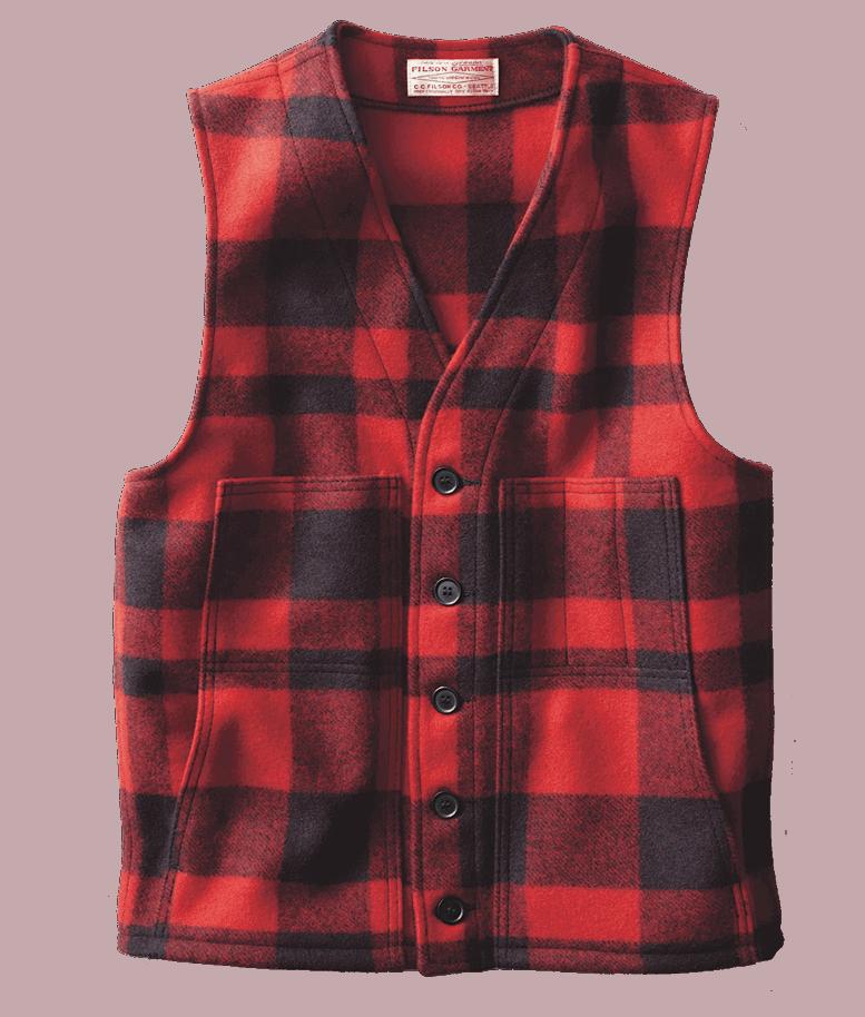 Filson Mackinaw Wool Weste - Red/Black