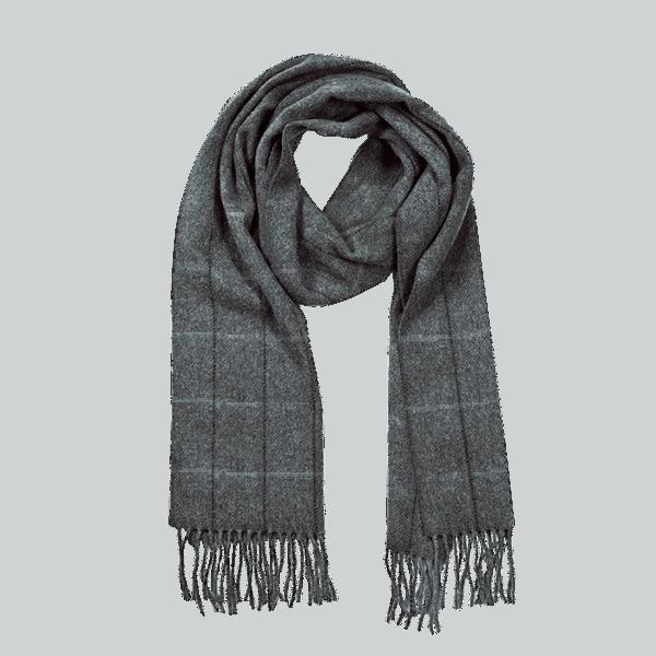 John Hanly Irish Wool Schal - Charcoal - Blue Stripe