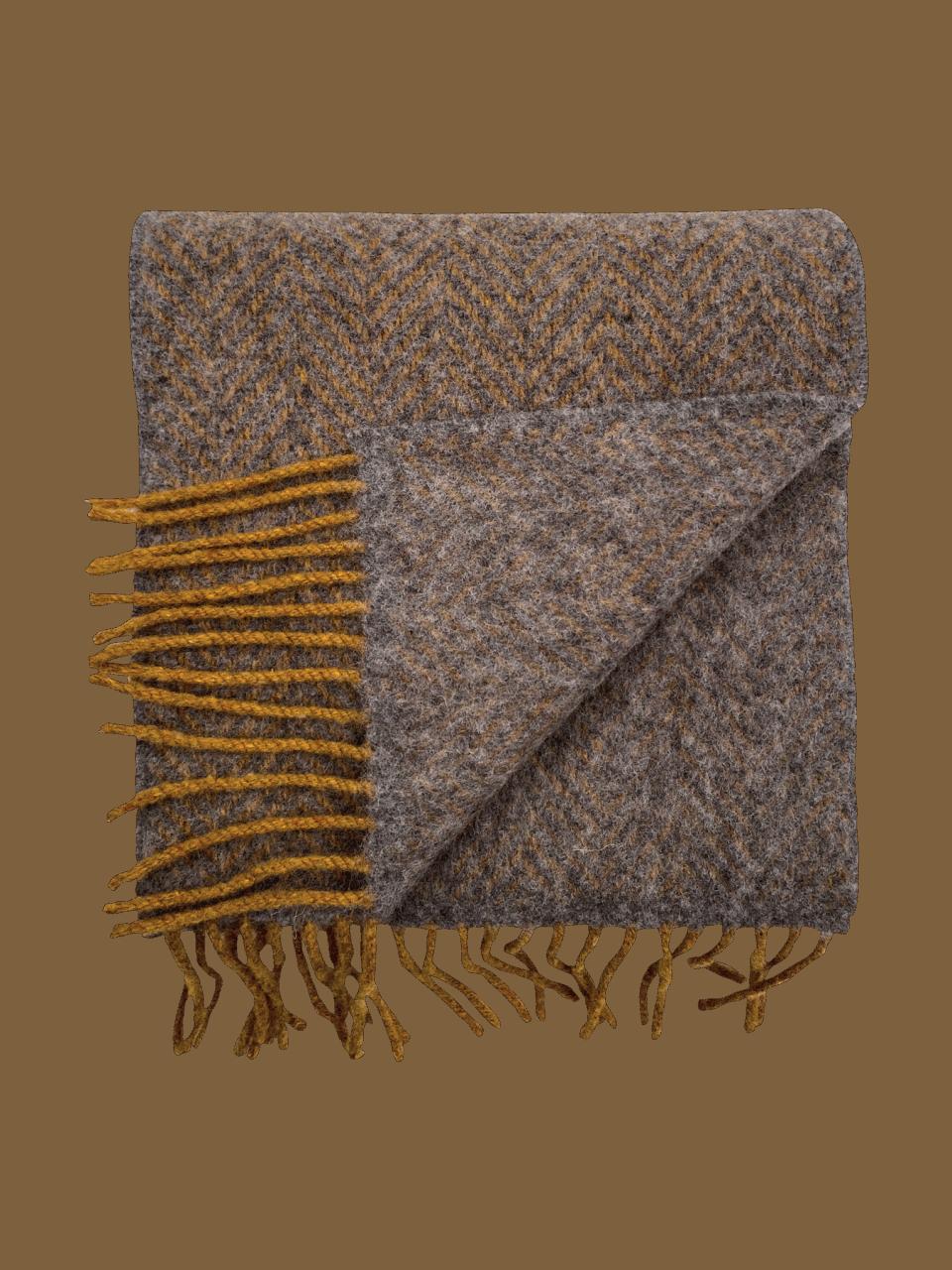 John Hanly Merino Cashmere Schal Herringbone Grey / Mustard
