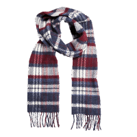 John Hanly Merino Cashmere Scarf Denim White Maroon Check
