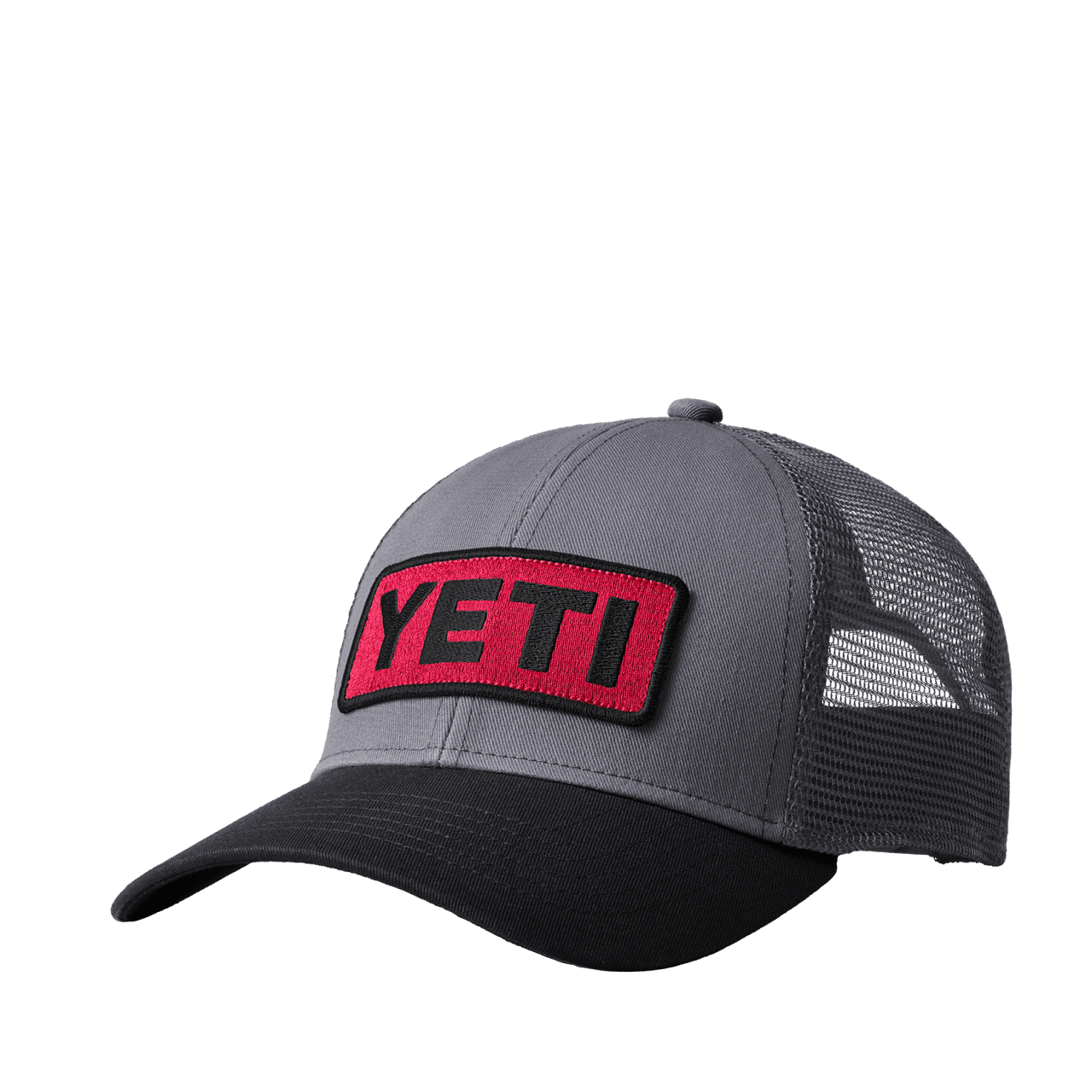 YETI Logo Badge Trucker Hat - black/red
