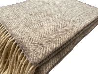 John Hanly Merino Cashmere XL Decke Herringbone Grey / Cream