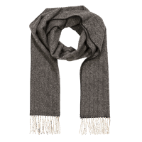 John Hanly Herringbone Scarf -Charcoal / Cream