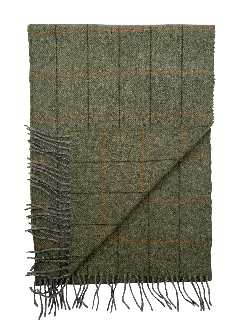 Irish Wool Scarf Medium Charcoal Grey Red Stripe