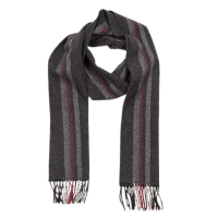 John Hanly Irish Cashmere Wool Scarf Grey Mix Burgundy Stripes
