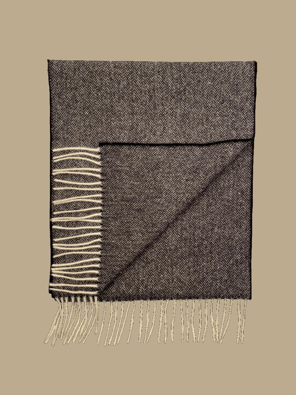 John Hanly Herringbone Scarf - Grey / Black