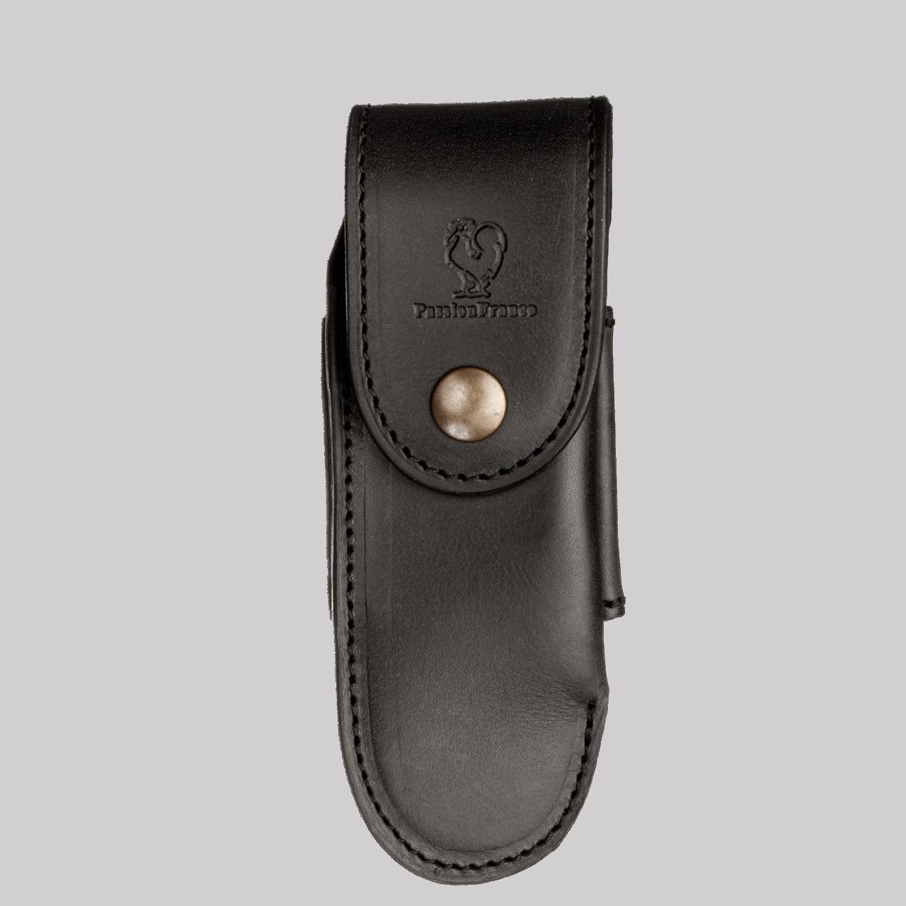 """Passion France """"Knife case 14cm Calfskin - black"""