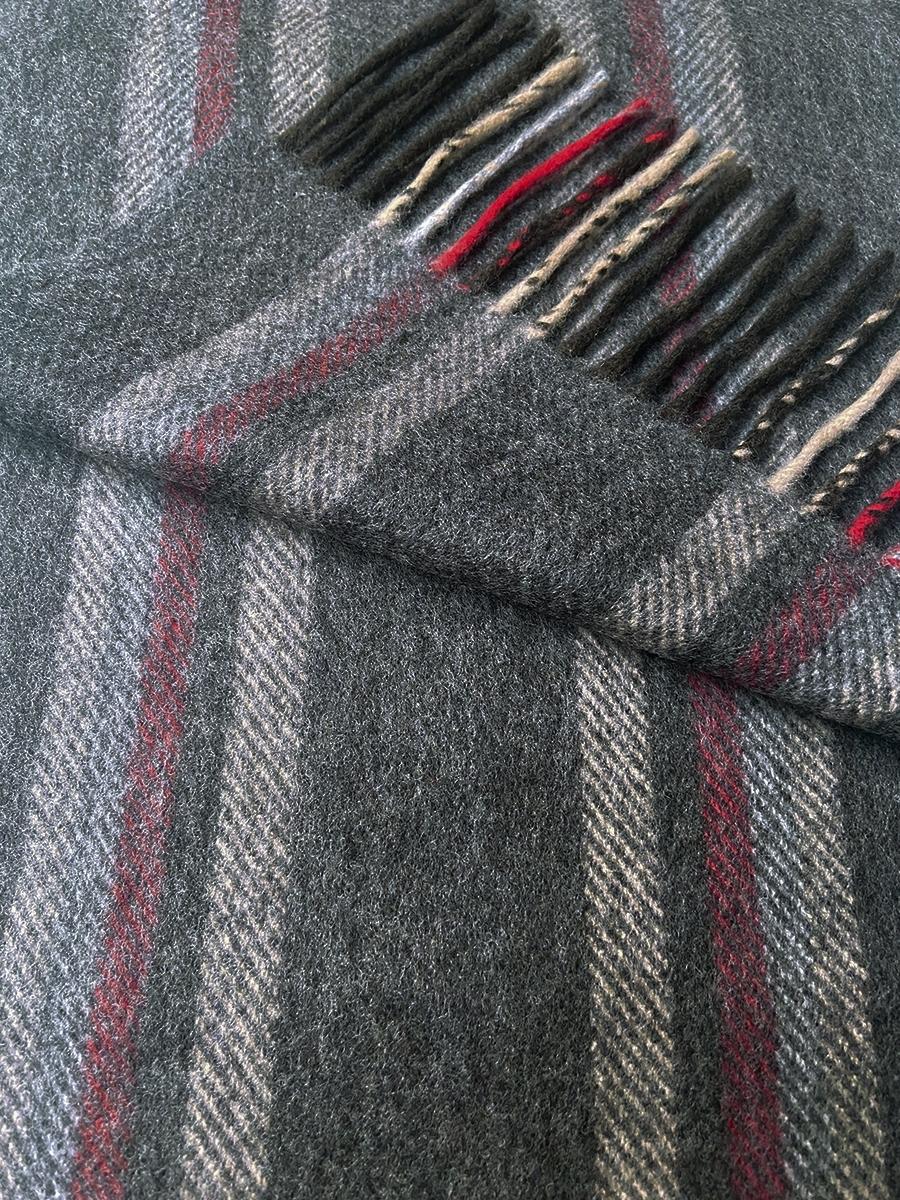 John Hanly Irish Cashmere Wool Schal Grey Mix Burgundy Stripes