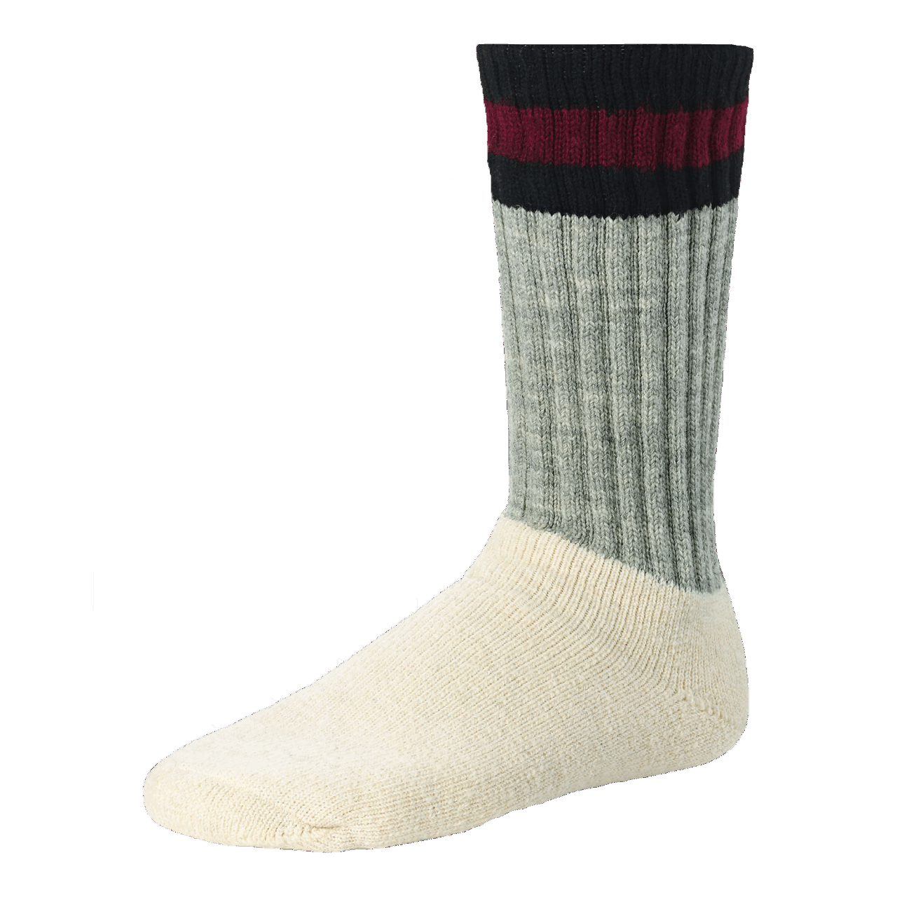 Red Wing Arctic Sock - white / gray - black / red stripe