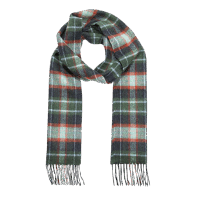 John Hanly Irish Wool Scarf Green Mint Navy Check
