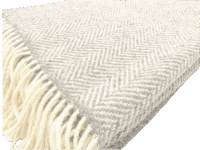 John Hanly Merino Cashmere Decke Herringbone Pale Grey / Cream