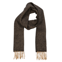 John Hanly Merino Cashmere Scarf Herringbone Dark Grey / Cream