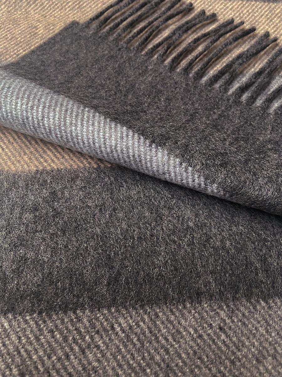 John Hanly Irish Cashmere Wool Scarf Denim Taupe Grey Stripe