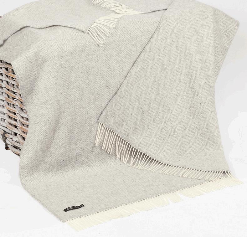 John Hanly Merino Cashmere Decke Herringbone Pale Grey / Cream