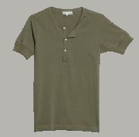 Merz b. Schwanen Knopfleisten T-Shirt 207 - army