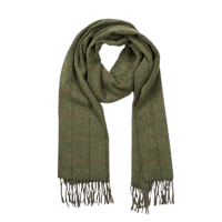 John Hanly Irish Wool Schal - Loden - Red Stripe