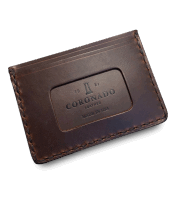 Coronado Leather Horsehide Card Case Wallet Brown