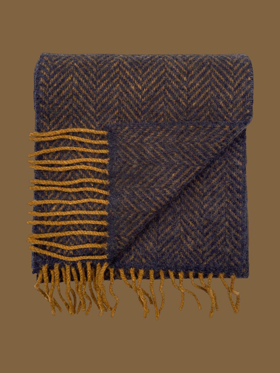 John Hanly Merino Cashmere Decke Herringbone Midnight Blue / Mustard