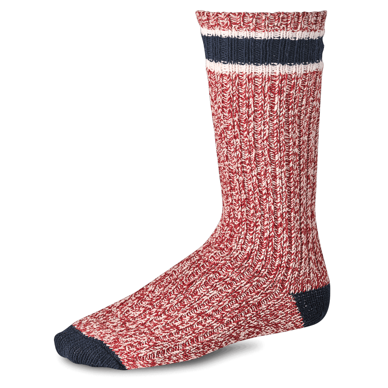 Red Wing Wool Rag Sock - red - white / blue stripe