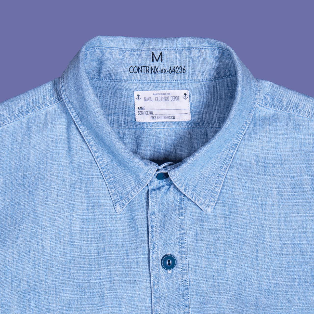 Pike Brothers 1940 USN Chambray Shirt Norfolk Blue