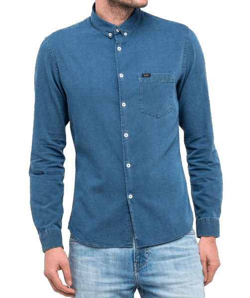 LEE BUTTON DOWN CHAMBRAY SHIRT BLUE BOOK