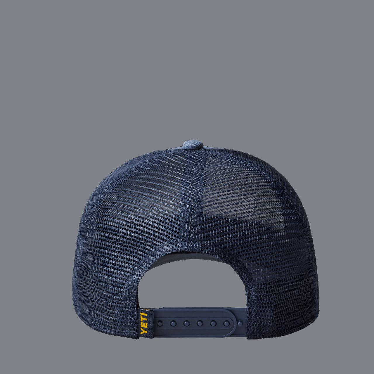 YETI Logo Badge Trucker Hat - navy/yellow