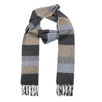 John Hanly Irish Cashmere Wool Scarf Denim Taupe Grey Stripe