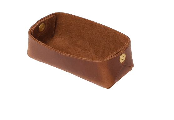 Wood and Faulk Leather Valte Tray