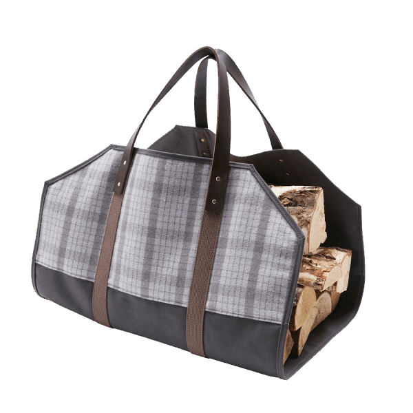 Faribault Log Carrier - Hastings Plaid Gray