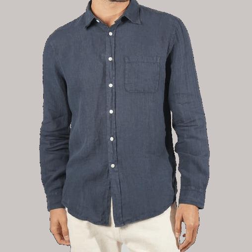 Portuguese Flannel Leinenshirt - Navy