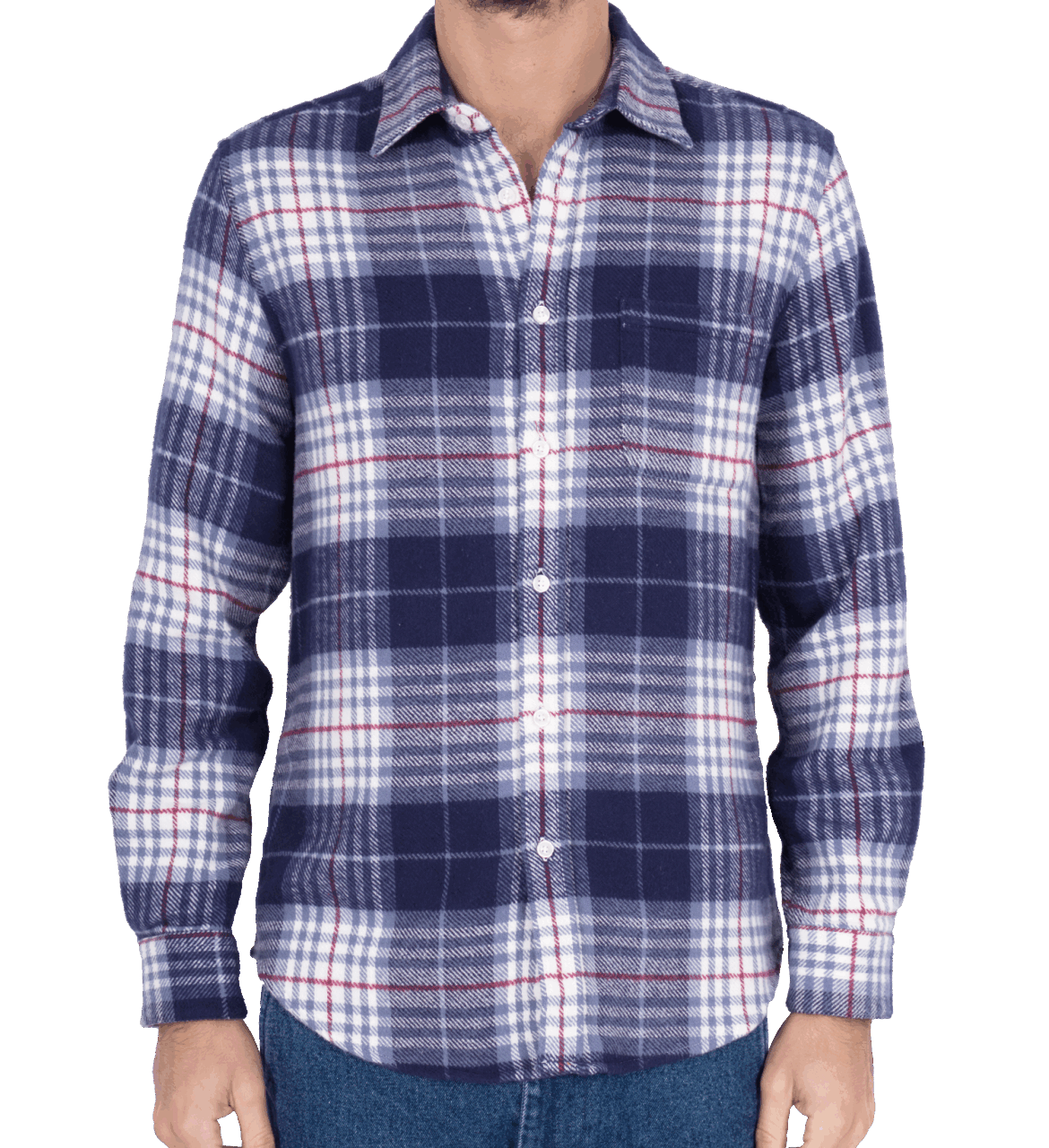 Portuguese Flannel Bleeckers Check - blue/red