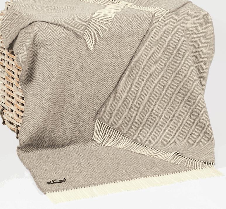 John Hanly Merino Cashmere XL Decke Herringbone Grey / Cream