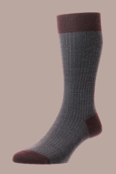 Pantherella Finsbury - Herringbone Merino Wool Socks - maroon