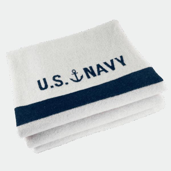 Faribault US Navy Blanket Cream / Naval 160x230cm/ 64x90 inch