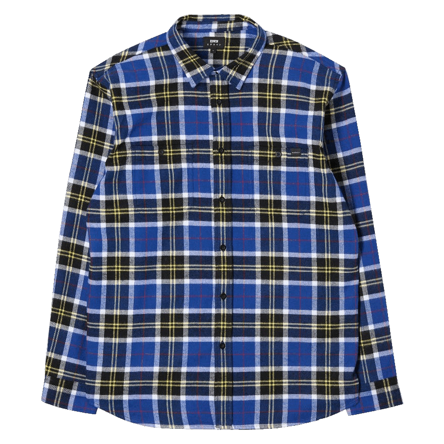 Edwin Labour LS Flannel Shirt - blue / black