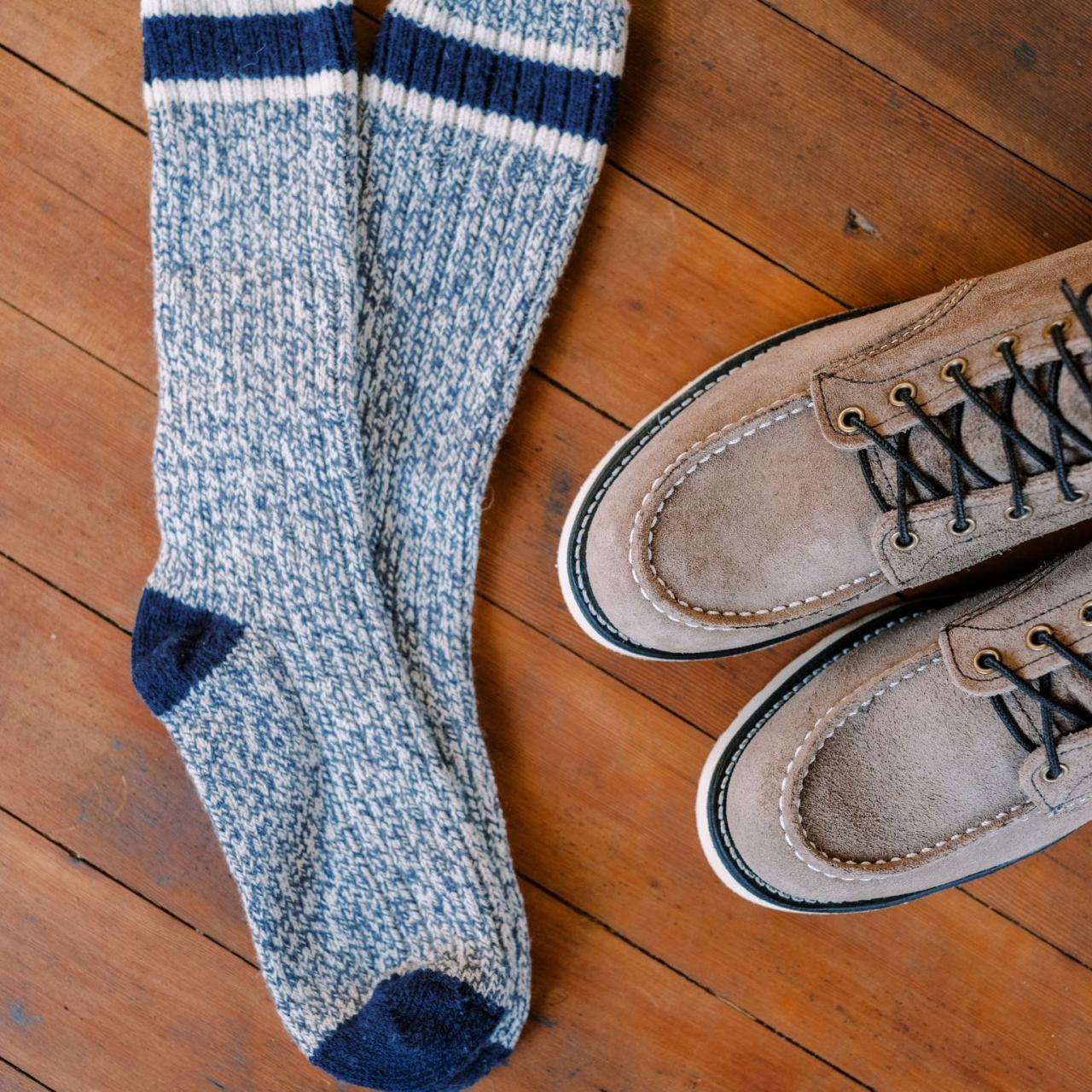 Red Wing Wool Rag Sock - slate - white / blue stripe